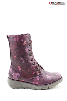 Heavenly Feet Martina Purple Floral Lace Mid Calf Wedge Boots