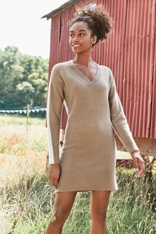 Lofty V-Neck Jumper Dress