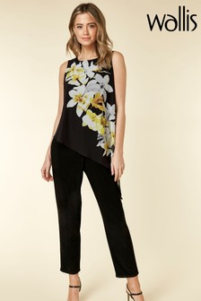 Wallis Black Petite Lemon Orchid Overlayer Jumpsuit