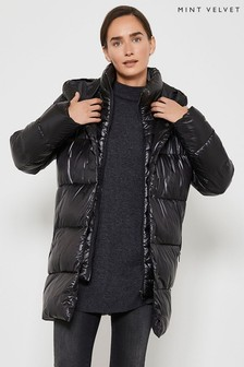 Mint Velvet Black Wet Look Padded Coat