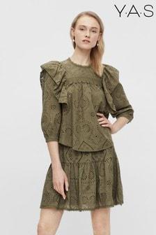 Y.A.S Khaki Organic Cotton Broderie Anglaise Co-ord Tara Blouse