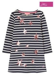 Joules Blue Riviera Luxe Long Sleeve Jersey Dress