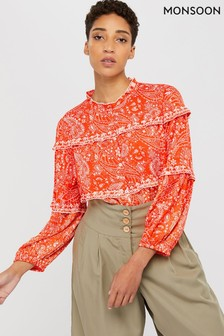 Monsoon Orange Misty Ecovero Print Blouse