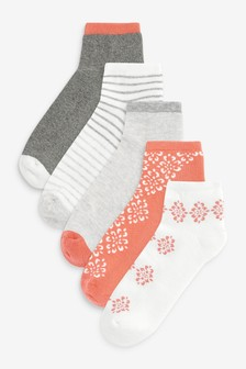 Patterned Cushion Sole Trainer Socks 5 Pack
