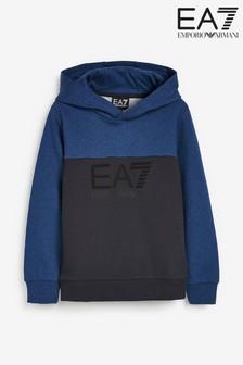 Emporio Armani EA7 Boys Navy Block Hoody
