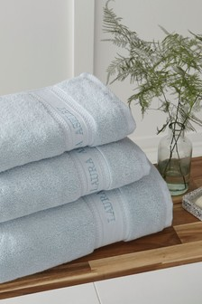 Laura Ashley Seaspray Luxury Cotton Embroidered Towel