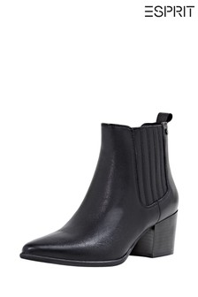 Esprit Black Caple Booties Leather With Side Elasticated Inserts