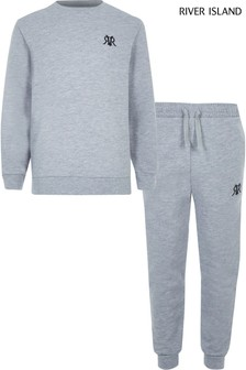 River Island Grey Maison Epp Top And Joggers Set