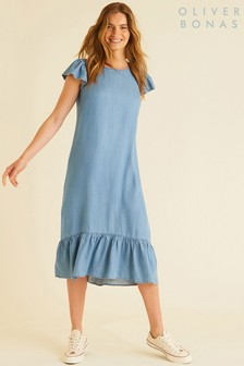 Oliver Bonas Frill Denim Dress