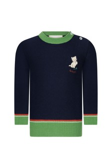 GUCCI Kids Baby Boys Navy Knitted Jumper