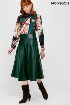 Monsoon Green Carly Circle PU Skirt