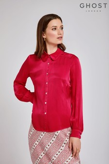 Ghost London Red Daisy Satin Shirt