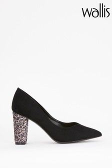 Wallis Cosmic Black Glitter V Detail Courts