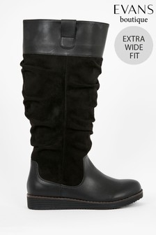 Evans Extra Wide Fit Black Slouch Long Boots