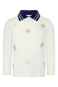Baby Boys Ivory Piquet Embroidered Polo Top