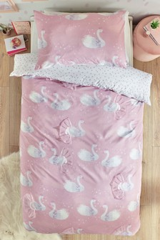 Princess Swans Duvet Cover and Pillowcase Set