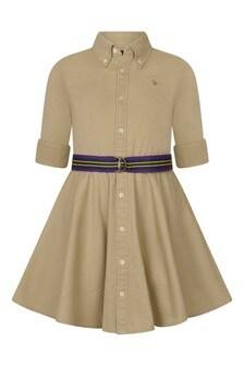 Girls Beige Cotton Chino Dress
