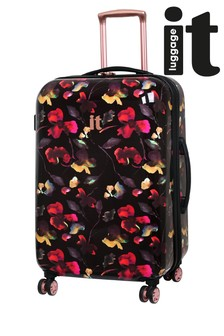 IT Luggage Dark Floral Expander Suitcase Medium