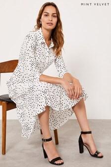 Mint Velvet White Ivory Spot Midi Shirt Dress