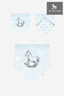 The Little Tailor Blue Rocking Horse Jersey Bib