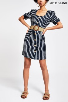 River Island Grommit Belted Waisted Dress