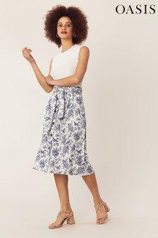 Oasis White Bernie Bird Midi Skirt