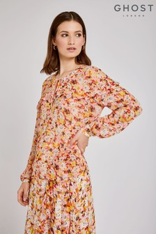 Ghost London Orange Bette Retro Print Georgette Blouse