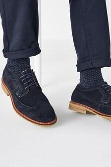 Contrast Sole Suede Brogue Shoes