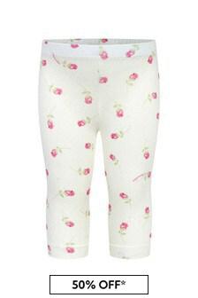 Monnalisa Baby Girls Cream Cotton Girls Leggings