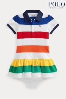 Ralph Lauren White Multicoloured Stripe Polo Dress