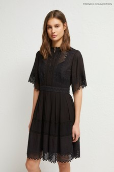 French Connection Black Drina Lace Sleeveless Dress