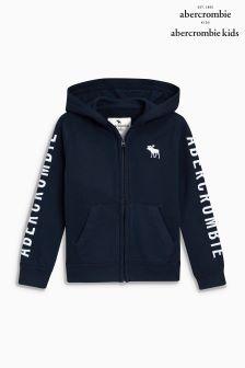 Abercrombie & Fitch Navy Logo Zip Through Hoody