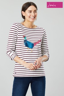 Joules Cream Harbour Luxe Long Sleeve Jersey Top