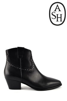 Ash Huston Black Leather Stud Boots
