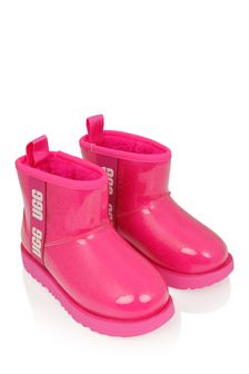 Girls Bright Pink Classic Clear Mini Boots