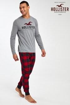 Conjunto de pijama de cuadros color gris de Hollister