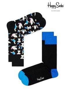 Happy Socks Black Multi 2 Pack Socks
