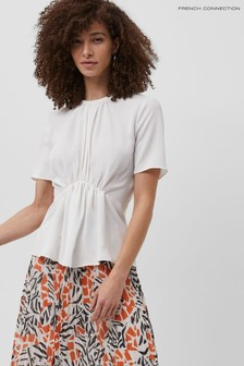 French Connection White Emmy Crepe Gathered Top