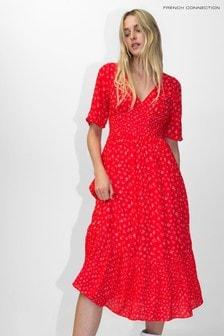French Connection Red Fayola Drape Midi Tea Dress