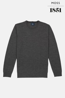 Moss 1851 Charcoal Merino Crew Neck Jumper
