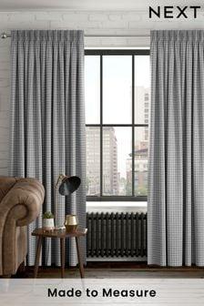 Herringbone Check Grey Made To Measure Curtains