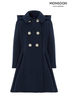 Monsoon Children Navy Nancy Godet Coat
