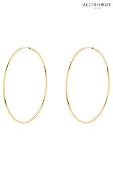 Accessorize Gold Tone Z Medium Simple Hoop