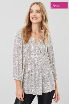 Joules Cream Lucia Long Sleeve Pintuck Blouse
