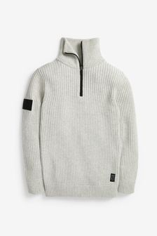 Chunky High Neck Zip Jumper (3-16yrs)
