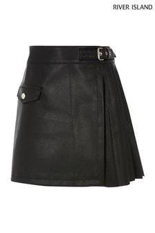 River Island Black PU Kilt Skirt