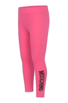 Girls Fuchsia Cotton Logo Leggings