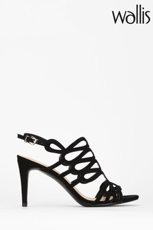 Wallis Seasonal Black Caged Detail Sandals