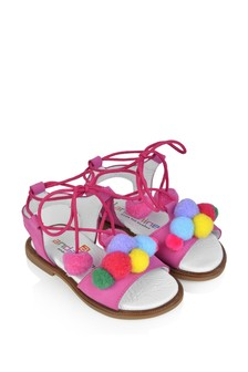 Girls Fuchsia Suede Pom Pom Sandals
