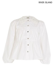 River Island White Lace Collar Tiered Shirt